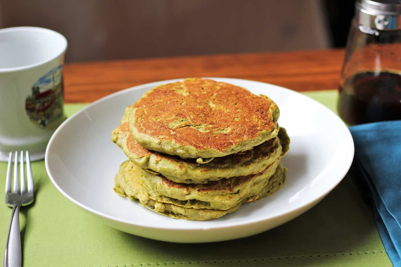 Whole Wheat Matcha Pancakes