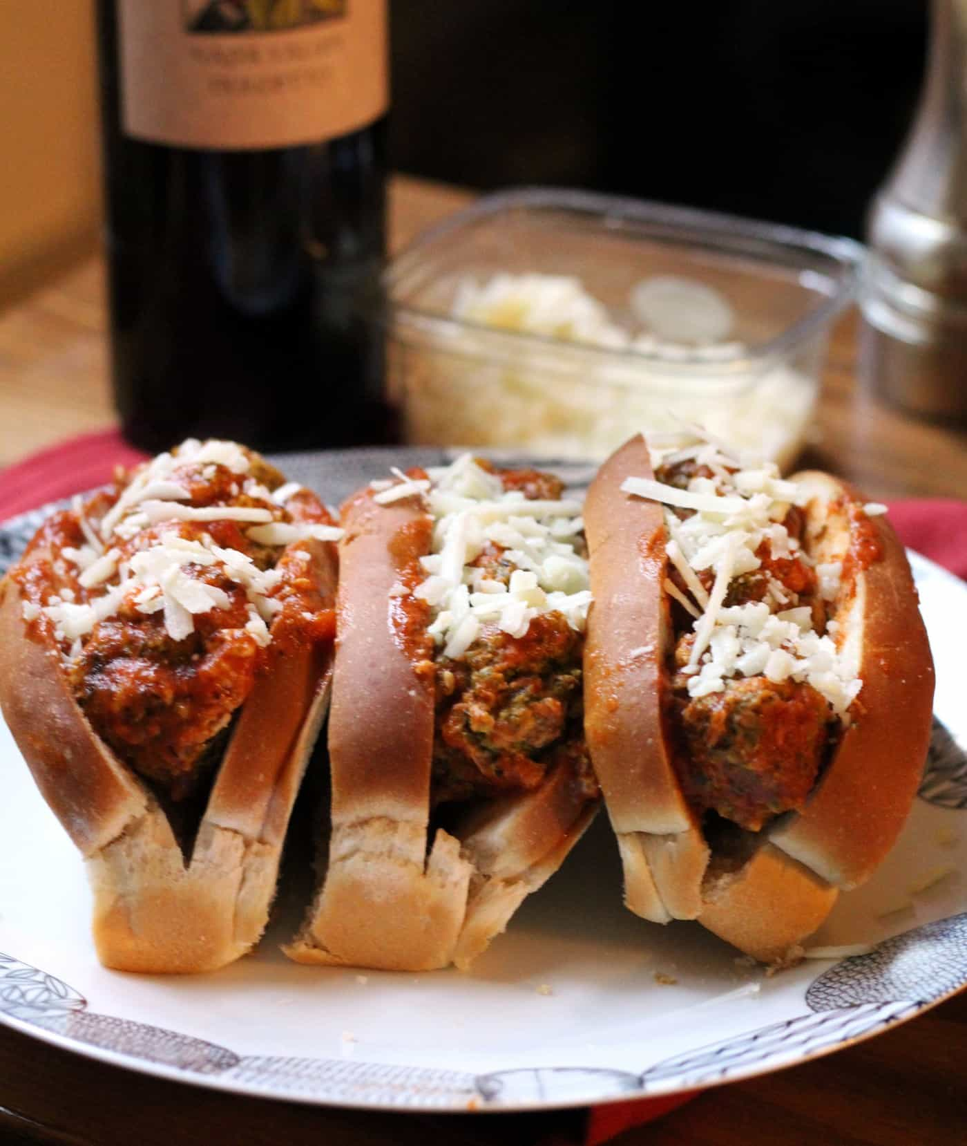 Spinach Turkey Meatball Subs