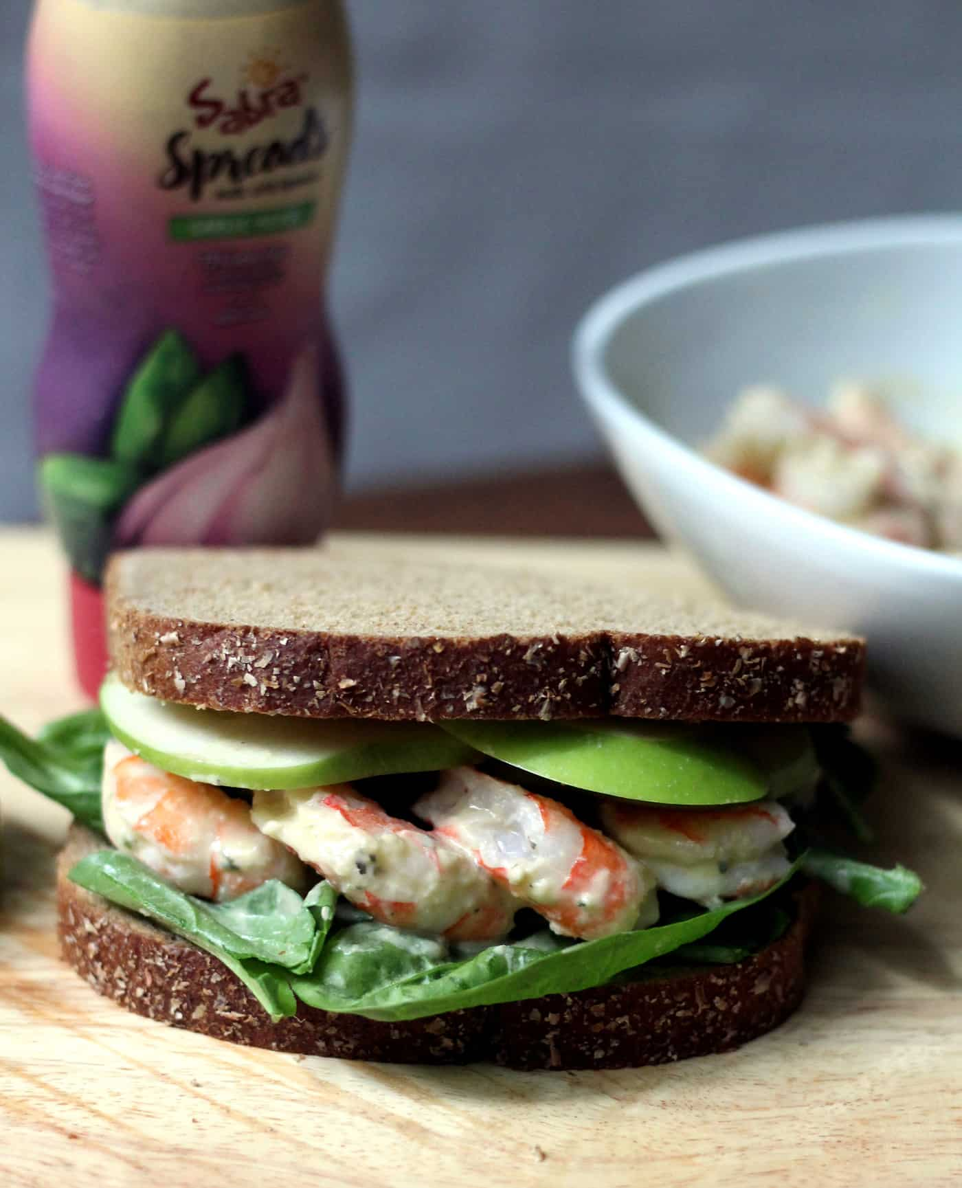 Garlic Herb Shrimp Sandwich with Green Apple