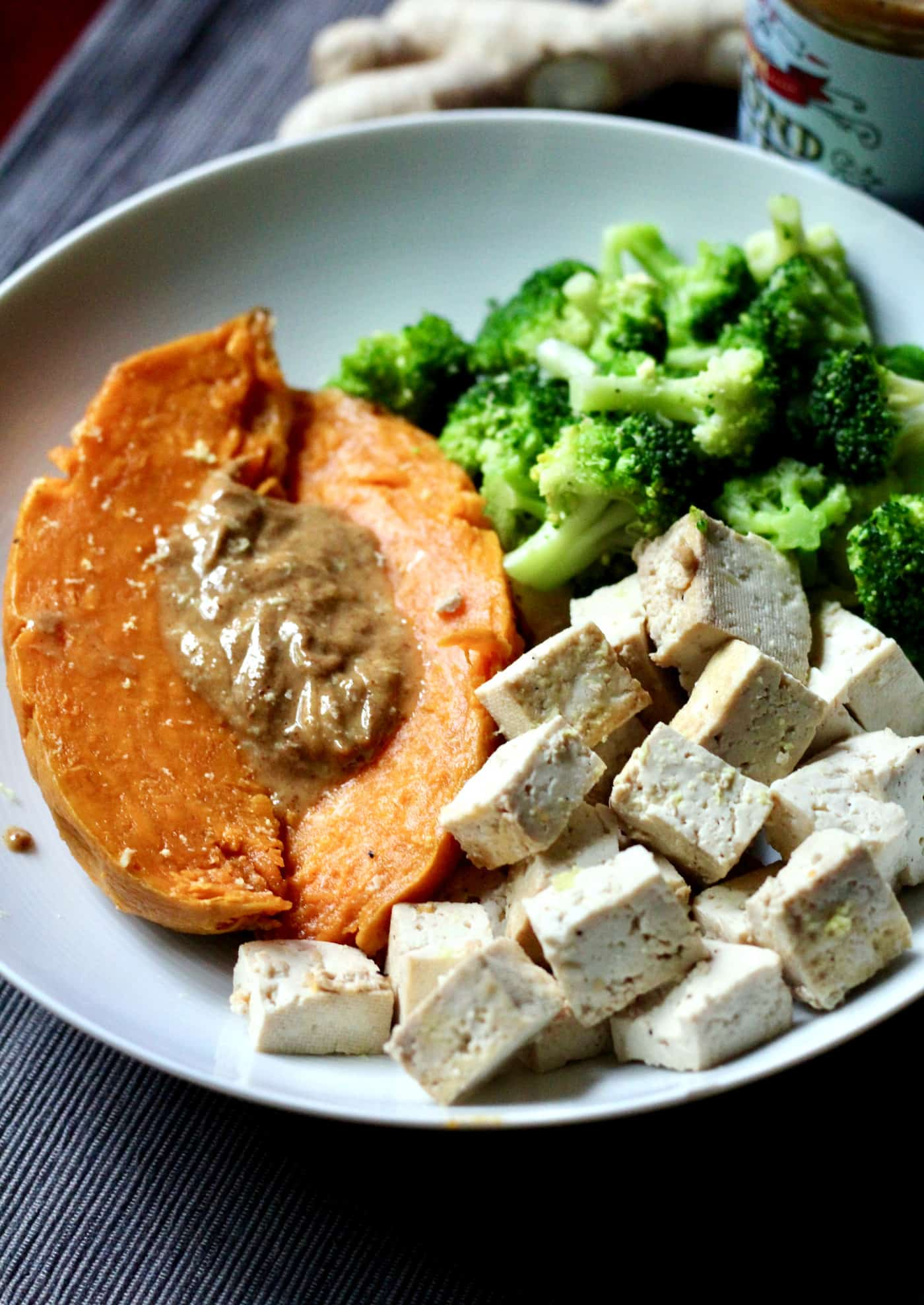 Almond Butter-Topped Sweet Potato with Tofu and Broccoli