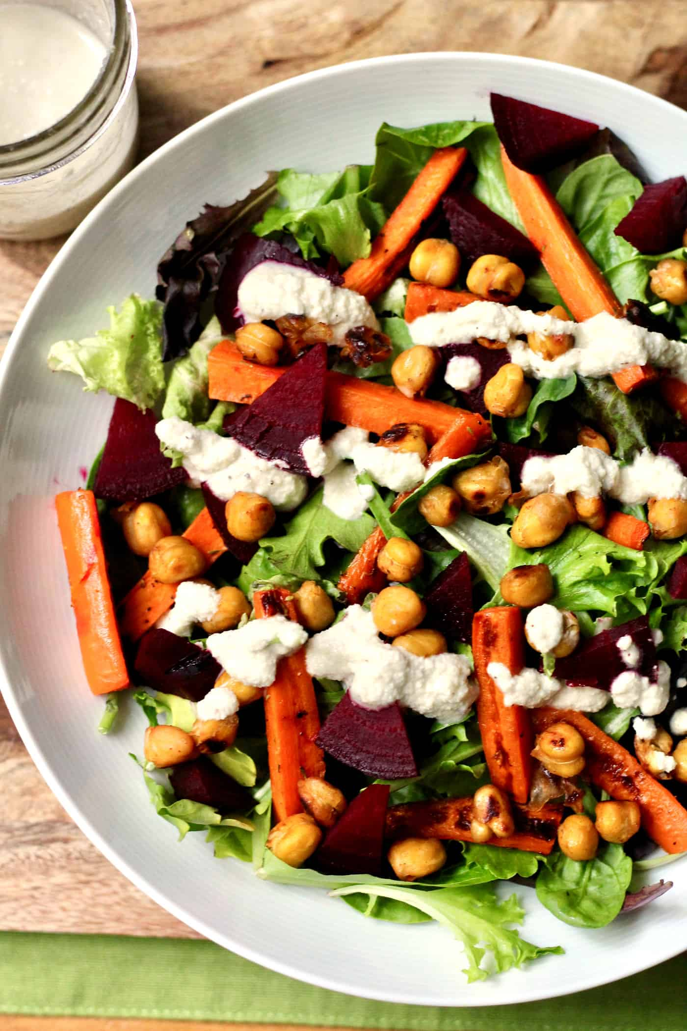Roasted Spring Vegetable Salad with Crispy Chickpeas and Creamy Cashew Dressing