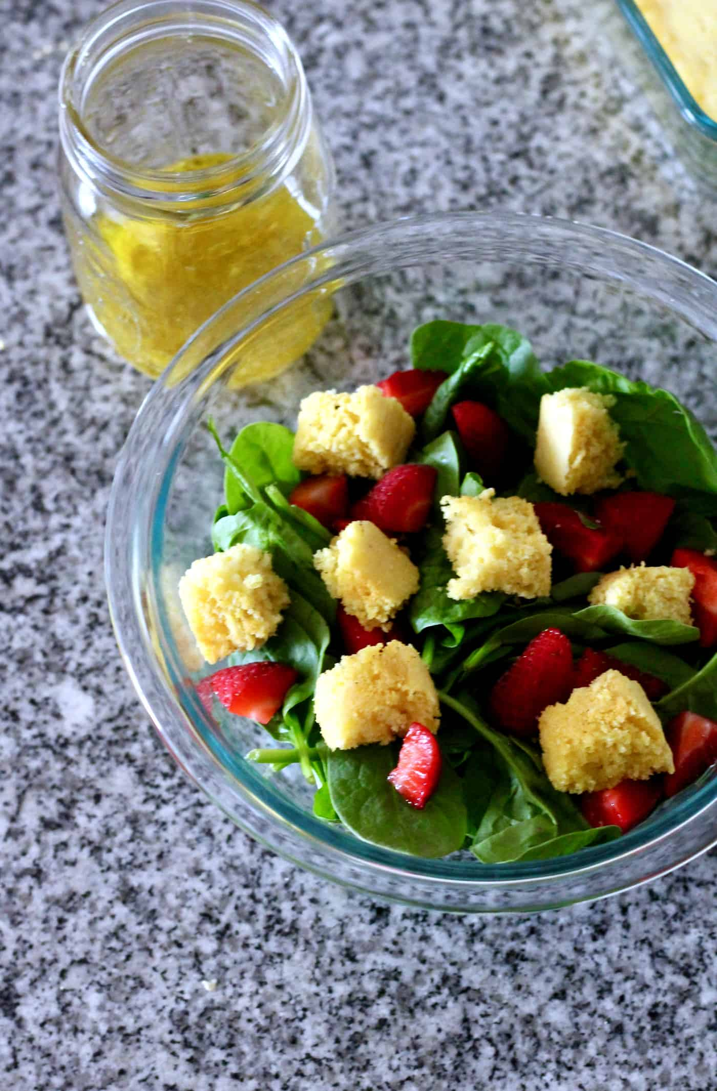 Simple Strawberry Spinach Salad With Cornbread Croutons The Healthy Toast