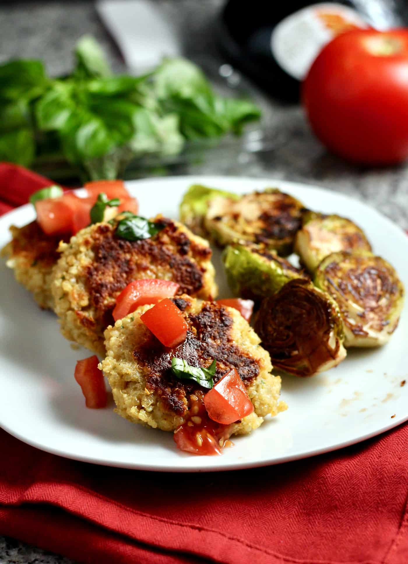 Italian Quinoa Cakes with Roasted Brussels Sprouts