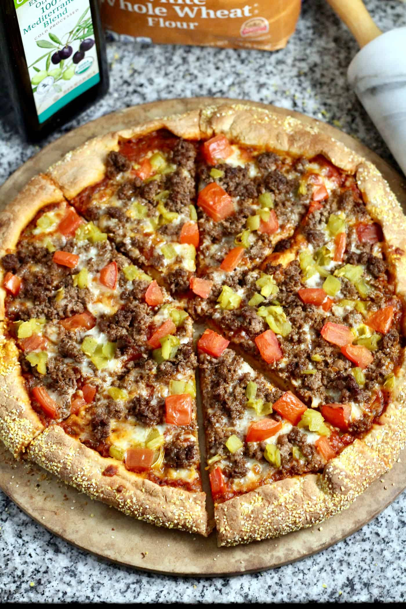Whole Wheat Bison and Green Chile Pizza