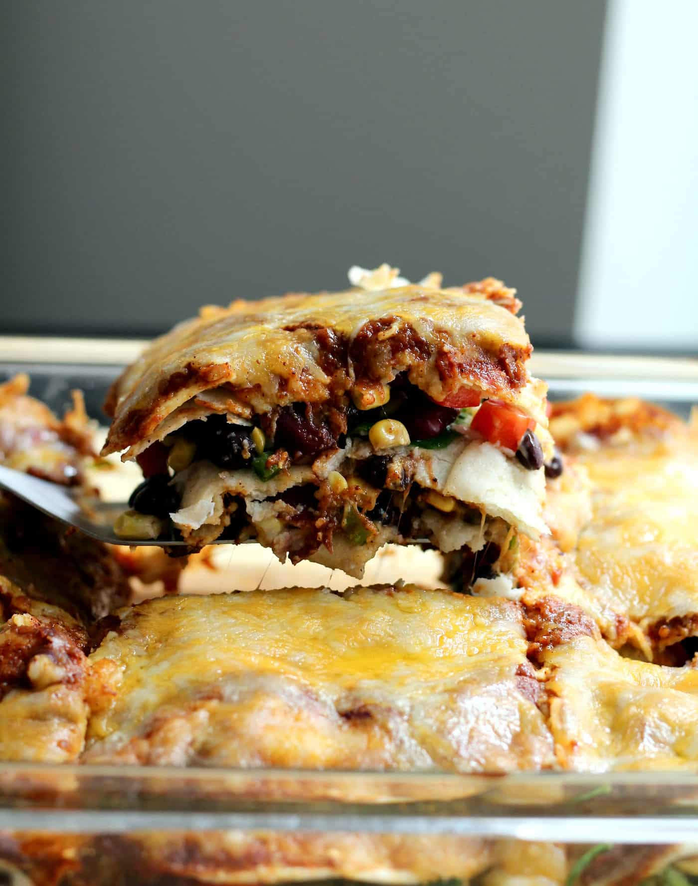 Veggie Enchilada Casserole with Homemade Enchilada Sauce