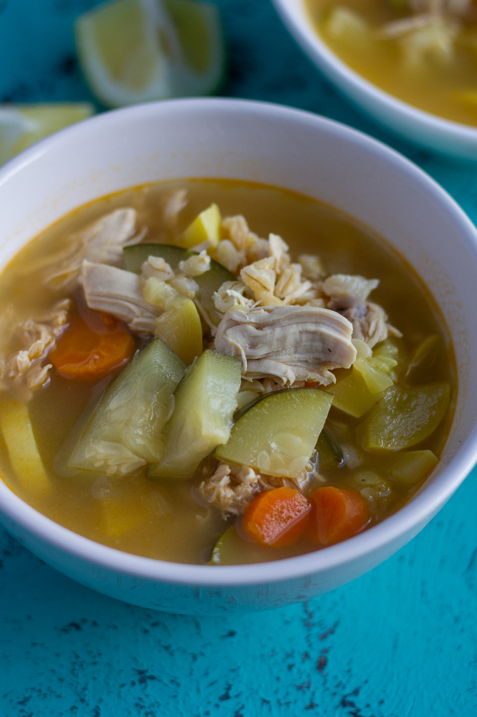 Lemon Chicken Soup with Barley and Summer Vegetables