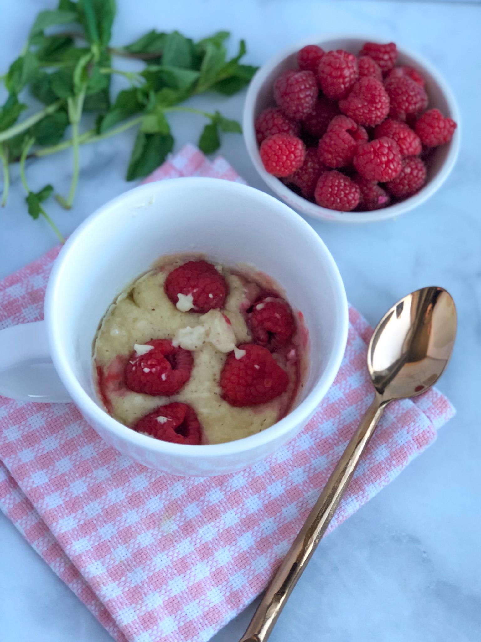 Healthy Raspberry Mug Cake for One